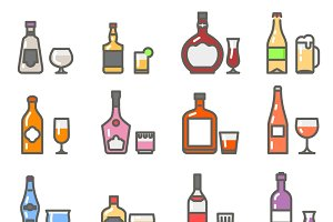 Alcohol bottles and glasses icons