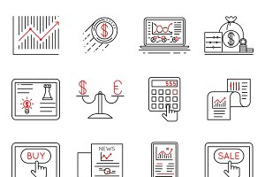Finance and stock line icons