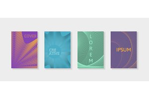 Covers with geometric lines. Applicable for Banners, Placards, Posters and Flyers. Minimal covers design set.
