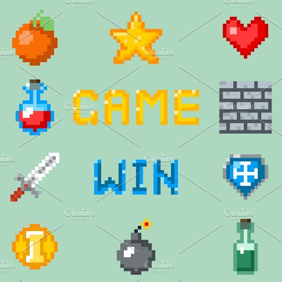 Pixel Games Icons For Web Interface