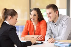 Employee calculating customer budget