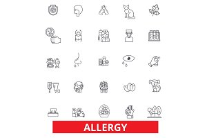 Allergy, food, season, desease, sneeze, pollen, asthma, allergens, allergic line icons. Editable strokes. Flat design vector illustration symbol concept. Linear signs isolated on white background