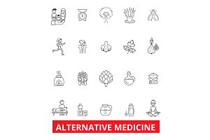 Alternative medicine, healing, therapy, acupuncture, energy, homeopathy, yoga line icons. Editable strokes. Flat design vector illustration symbol concept. Linear signs isolated on white background