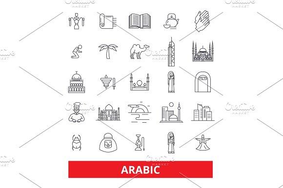 Arabic Arab Islamic Calligraphy Arabian Arabesque Muslim Religion Line Icons Editable Strokes Flat Design Vector Illustration Symbol Concept Linear Signs Isolated On White Background