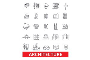 Architecture, building,construction, design, plans, blueprint, architect, studio line icons. Editable strokes. Flat design vector illustration symbol concept. Linear signs isolated on white background