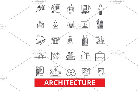 Architecture buildingconstruction design plans blueprint architecture buildingconstruction design plans blueprint architect studio line icons editable strokes flat design vector illustration symbol malvernweather Choice Image
