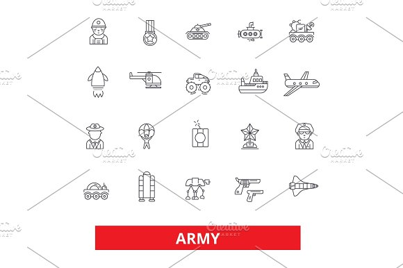 Army Military Soldier Navy War Marine Camouflage Action Forces Line Icons Editable Strokes Flat Design Vector Illustration Symbol Concept Linear Signs Isolated On White Background