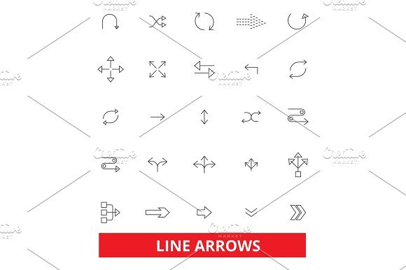 Arrows Direction Button Direction Traffic Weapon Bow Line Icons Editable Strokes Flat Design Vector Illustration Symbol Concept Linear Signs Isolated On White Background