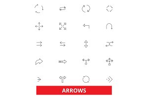 Arrows, direction, pointer, icon, button, drawing, traffic sign, weapon, bow line icons. Editable strokes. Flat design vector illustration symbol concept. Linear signs isolated on white background