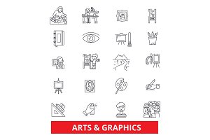 Art, graphics, design, web, internet, interface line icons. Editable strokes. Flat design vector illustration symbol concept. Linear signs isolated on white background