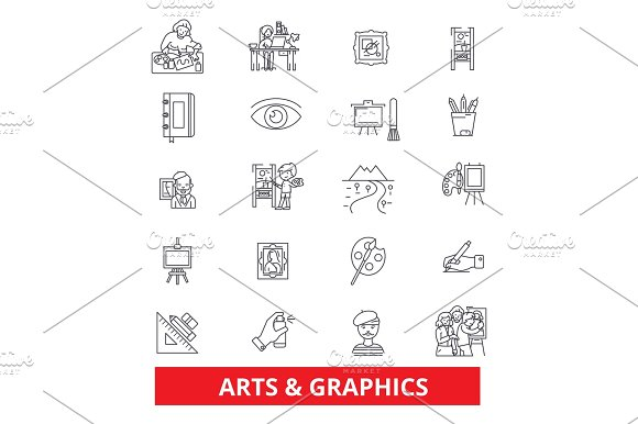 Art Graphics Design Web Internet Interface Line Icons Editable Strokes Flat Design Vector Illustration Symbol Concept Linear Signs Isolated On White Background