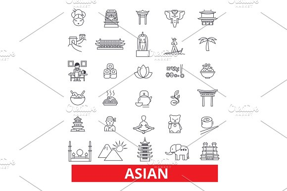Asia Chinese People Indian Japanese Culture Asian Couple Line Icons Editable Strokes Flat Design Vector Illustration Symbol Concept Linear Signs Isolated On White Background