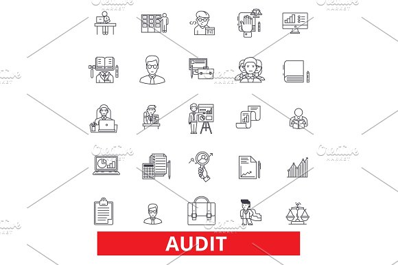 Audit Review Accounting Compliance Finance Analysis Numbers Check Tax Line Icons Editable Strokes Flat Design Vector Illustration Symbol Concept Linear Signs Isolated On White Background