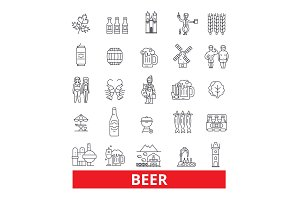 Alcohol, drink, non-alchoholic beverage, ale, cider, light and dark beer, line icons. Editable strokes. Flat design vector illustration symbol concept. Linear signs isolated on white background