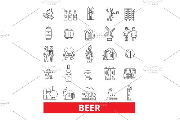 Alcohol Drink Non-alchoholic Beverage Ale Cider Light And Dark Beer Line Icons Editable Strokes Flat Design Vector Illustration Symbol Concept Linear Signs Isolated On White Background