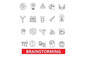 Brainstorm, create, idea, thinking, creation, innovation, invent line icons. Editable strokes. Flat design vector illustration symbol concept. Linear signs isolated on white background
