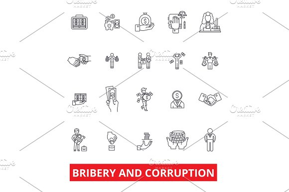 Bribery Corruption Anti-bribery Law Fraud Conflict Of Interest Money Line Icons Editable Strokes Flat Design Vector Illustration Symbol Concept Linear Signs Isolated On White Background