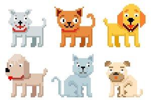Pixel art pets icons