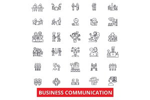 Business communication, connection, teamwork, cooperation, negotiation, deal line icons. Editable strokes. Flat design vector illustration symbol concept. Linear signs isolated on white background