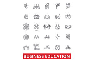 Business education, MBA, training, coaching, mentorship, internship, learn, study line icons. Editable strokes. Flat design vector illustration symbol concept. Linear signs isolated on background