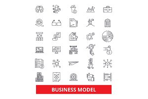 Business plan, development, strategy, project, task, aim, outline, management line icons. Editable strokes. Flat design vector illustration symbol concept. Linear signs isolated on white background