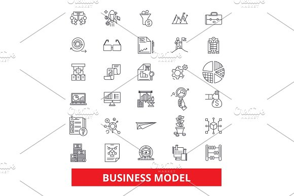Business Plan Development Strategy Project Task Aim Outline Management Line Icons Editable Strokes Flat Design Vector Illustration Symbol Concept Linear Signs Isolated On White Background