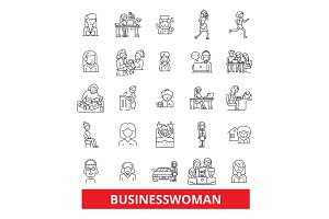 Business woman, entepreneur, person, worker, professional, gender, feminist line icons. Editable strokes. Flat design vector illustration symbol concept. Linear signs isolated on white background
