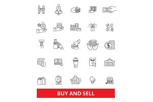 Buy and sell, business, shop, commerce, shopping, selling, marketing, commerce line icons. Editable strokes. Flat design vector illustration symbol concept. Linear signs isolated on white background