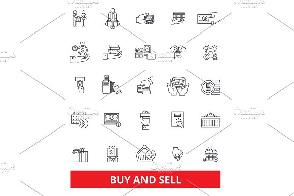 Buy And Sell Business Shop Commerce Shopping Selling Marketing Commerce Line Icons Editable Strokes Flat Design Vector Illustration Symbol Concept Linear Signs Isolated On White Background
