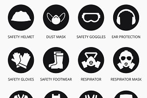 Industry protection equipment icons