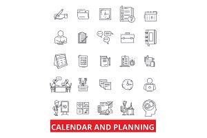 Calender and planning, schedule, planner, organizer, plan, timetable, deadline line icons. Editable strokes. Flat design vector illustration symbol concept. Linear signs isolated on white background