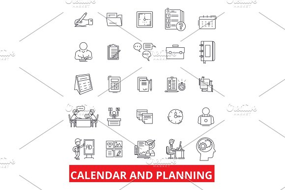 Calender And Planning Schedule Planner Organizer Plan Timetable Deadline Line Icons Editable Strokes Flat Design Vector Illustration Symbol Concept Linear Signs Isolated On White Background
