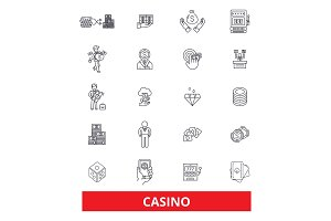 Casino, slot machine,poker,las vegas, roulette,gambling, dice line icons. Editable strokes. Flat design vector illustration symbol concept. Linear signs isolated on white background