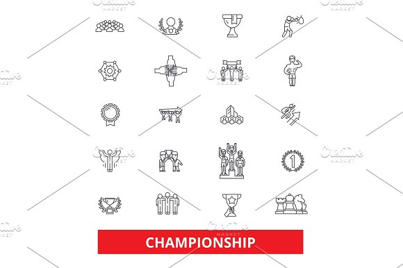 Championship Champion Winner Athlete Professional Competition Winning Line Icons Editable Strokes Flat Design Vector Illustration Symbol Concept Linear Signs Isolated On White Background