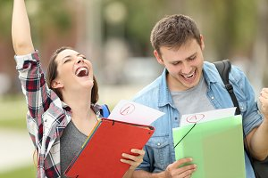Excited students with approved exams
