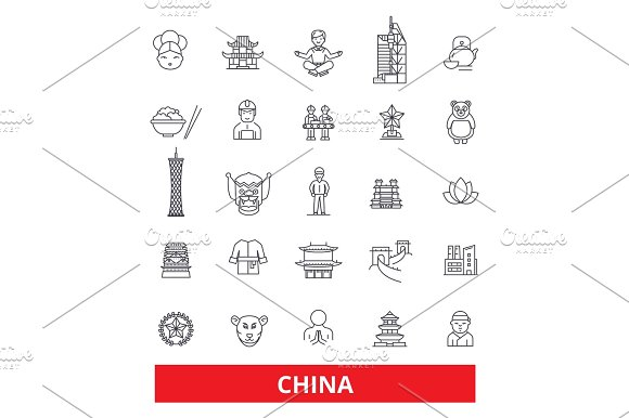 China And Chinese Oriental East Nation Culture Beijing Great Wall Line Icons Editable Strokes Flat Design Vector Illustration Symbol Concept Linear Signs Isolated On White Background