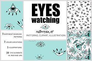 Eyes. Pattern and clipart collection