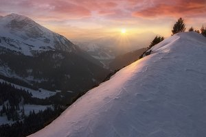 Sunset over french Alps