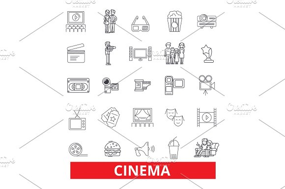 Cinema Film Movie Theatre Entertainment Cinematography Industry Festival Line Icons Editable Strokes Flat Design Vector Illustration Symbol Concept Linear Signs Isolated On White Background
