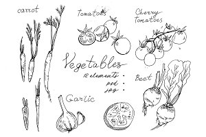 Vegetables. Black and white graphics