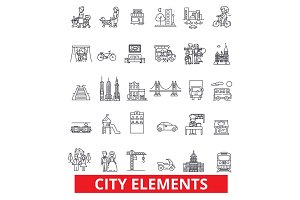 City elements, town, urban, district, architecture, transportation, settlement line icons. Editable strokes. Flat design vector illustration symbol concept. Linear signs isolated on white background