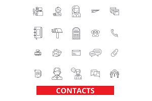 Contacts, partners, communication, correspondence, connection, information line icons. Editable strokes. Flat design vector illustration symbol concept. Linear signs isolated on white background