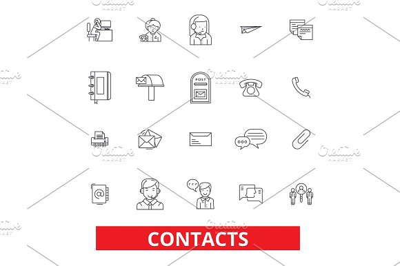 Contacts Partners Communication Correspondence Connection Information Line Icons Editable Strokes Flat Design Vector Illustration Symbol Concept Linear Signs Isolated On White Background