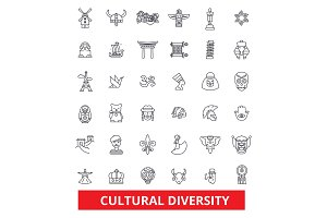 Cultural diversity, international, enthnic, multicultural, tolerance, peace line icons. Editable strokes. Flat design vector illustration symbol concept. Linear signs isolated on white background
