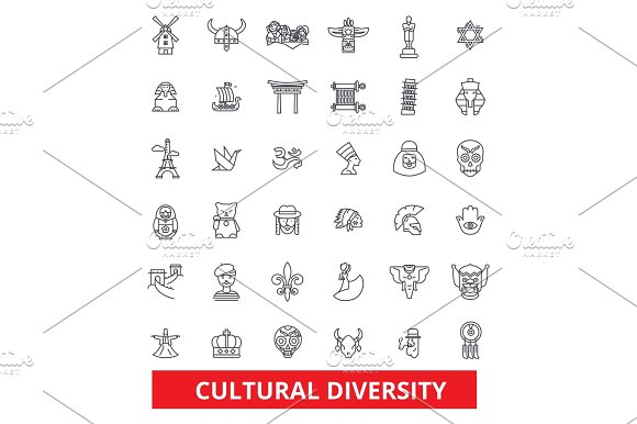 Cultural Diversity International Enthnic Multicultural Tolerance Peace Line Icons Editable Strokes Flat Design Vector Illustration Symbol Concept Linear Signs Isolated On White Background
