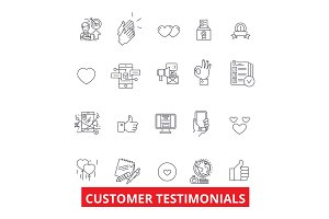 Customer testimonials, satisfaction, reviews, feedback, reaction, reputation line icons. Editable strokes. Flat design vector illustration symbol concept. Linear signs isolated on white background