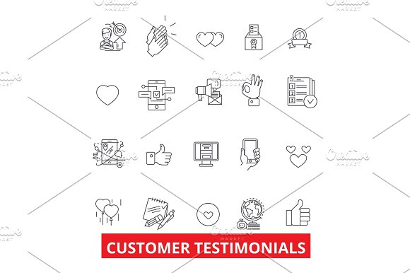 Customer Testimonials Satisfaction Reviews Feedback Reaction Reputation Line Icons Editable Strokes Flat Design Vector Illustration Symbol Concept Linear Signs Isolated On White Background