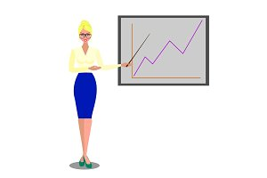 Flat vector isolated illustration business people, famel in spectacles on white background near board with graph, with pointer