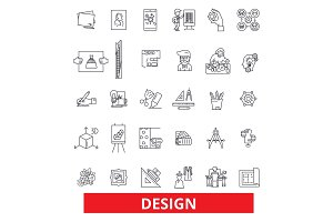 Design, layout, plan, cover, outline, presentation, style, blueprint, development line icons. Editable strokes. Flat design vector illustration symbol concept. Linear signs isolated on background