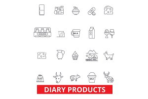 Diary products, milk, butter, cream, cheese, icecream, sour cream, powder milk line icons. Editable strokes. Flat design vector illustration symbol concept. Linear signs isolated on white background